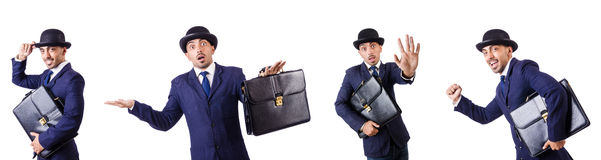 The businessman in old style hat Stock Photography