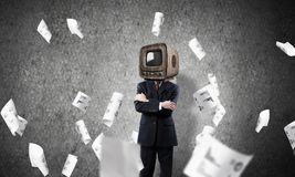 Businessman with old TV instead of head. Royalty Free Stock Images