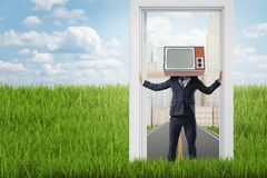 Businessman with old TV set instead of head standing in a doorway from city to the country vector illustration