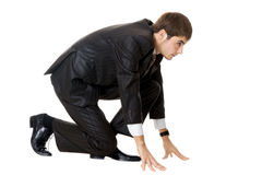 Businessman On Starting Line Stock Photo