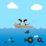 2 businessman in one boat use big and small dollar bait to catch. Money business concept Vector Vector Illustration