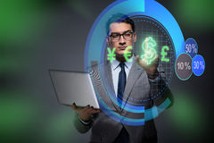 The businessman in online currency trading concept Royalty Free Stock Images