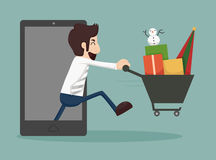 Businessman online shopping, e-commerce concept Royalty Free Stock Photography