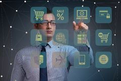 The businessman in online trading and shopping concept royalty free illustration
