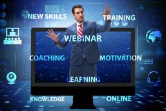 The businessman in online webinar concept royalty free illustration