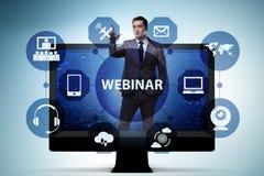 The businessman in online webinar concept stock illustration