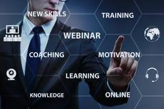 The businessman in online webinar concept royalty free illustration