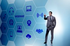 The businessman in online webinar concept royalty free stock photography