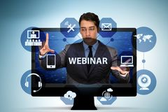 The businessman in online webinar concept stock images