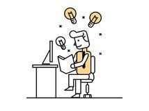 Businessman open book to find idea, idea concept. Flat line design elements. vector illustration Royalty Free Stock Images