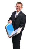 Businessman with open folder. Studio shot royalty free stock image