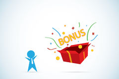 Businessman open gift box  to get bonus, career and business concept Stock Image