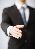 Businessman with open hand Royalty Free Stock Photography