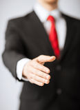 Businessman with open hand Stock Image