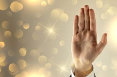 Businessman open hand with glitter background royalty free stock photo