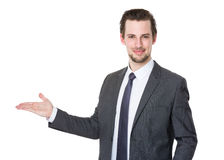 Businessman with open hand palm Stock Photo
