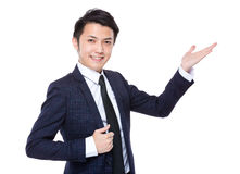 Businessman with open hand palm for showing something Royalty Free Stock Photography