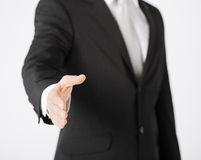 Businessman with open hand Stock Images