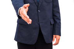 Businessman with open hand Stock Photo