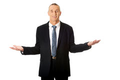 Businessman with open hands Royalty Free Stock Image