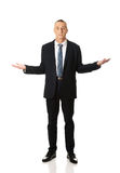 Businessman with open hands Royalty Free Stock Images