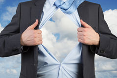 Businessman open his shirt Royalty Free Stock Photography