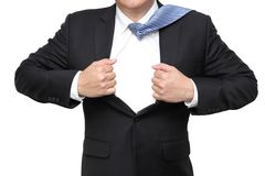 Businessman open his suit showing blank space Stock Images