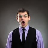 Businessman with open mouth Stock Image