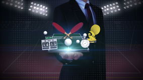 Businessman open palm, Around ping pong icon, ping pong table, table tennis rackets. stock video