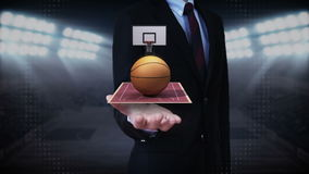 Businessman open palm, basketball, court, goalpost. Businessman open palm, rotating basketball, court stock illustration