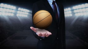 Businessman open palm, basketball. Businessman open palm, rotating basketball, court royalty free illustration
