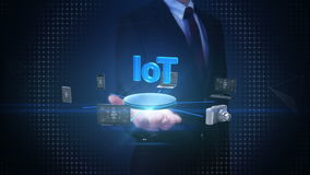 Businessman open palm, Devices connecting IoT technology, artificial intelligence. Internet of things. Businessman open palm, Devices connecting IoT technology