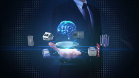 Businessman open palm, Devices sensor icon connecting Digital brain, artificial intelligence. Internet of things. IoT connect brain shape, artificial stock video