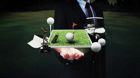 Businessman open palm, golf icon, golf bag, field, course, golf cart.golf clubs. stock footage