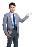 Businessman open palm hand Royalty Free Stock Images