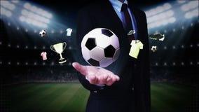 Businessman open palm,Soccer ball icon, football animation.