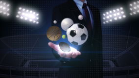 Businessman open palm, various sports ball, baseball, soccer ball, basketball, volleyball, tennis ball, rugby ball. royalty free illustration