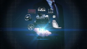 Businessman open palm, Vehicle parts,Engine, seat, Instrument panel, navigation, Accelerator pedal, audio video system. stock footage