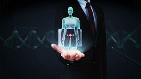 Businessman open palm, Zooming female body scanning womb, blue X-ray image. stock video