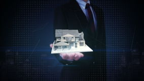 Businessman open palms, real estate, constructed house sold out sign stock footage