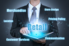 Businessman open retail strategy book. Business concept stock images