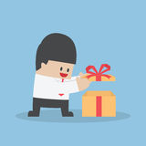 Businessman opened the gift box Stock Image