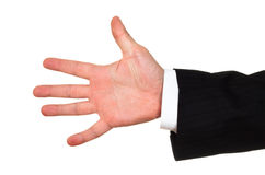 Businessman opened hand stock image