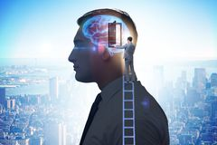 The businessman opening door to artificial intelligence stock images