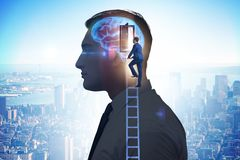 The businessman opening door to artificial intelligence stock image