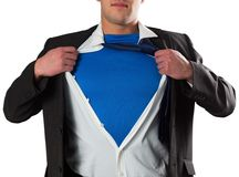 Businessman opening his shirt superhero style Stock Photography