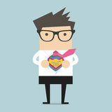 Businessman opening shirt in superhero style Royalty Free Stock Images