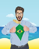 Businessman opening shirt to reveal brazilian flag Royalty Free Stock Photo