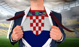 Businessman opening shirt to reveal croatia flag Royalty Free Stock Photography