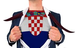 Businessman opening shirt to reveal croatia flag Royalty Free Stock Images